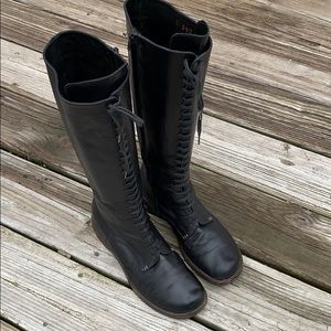 Barney's New York tall black zip 39 combat boots